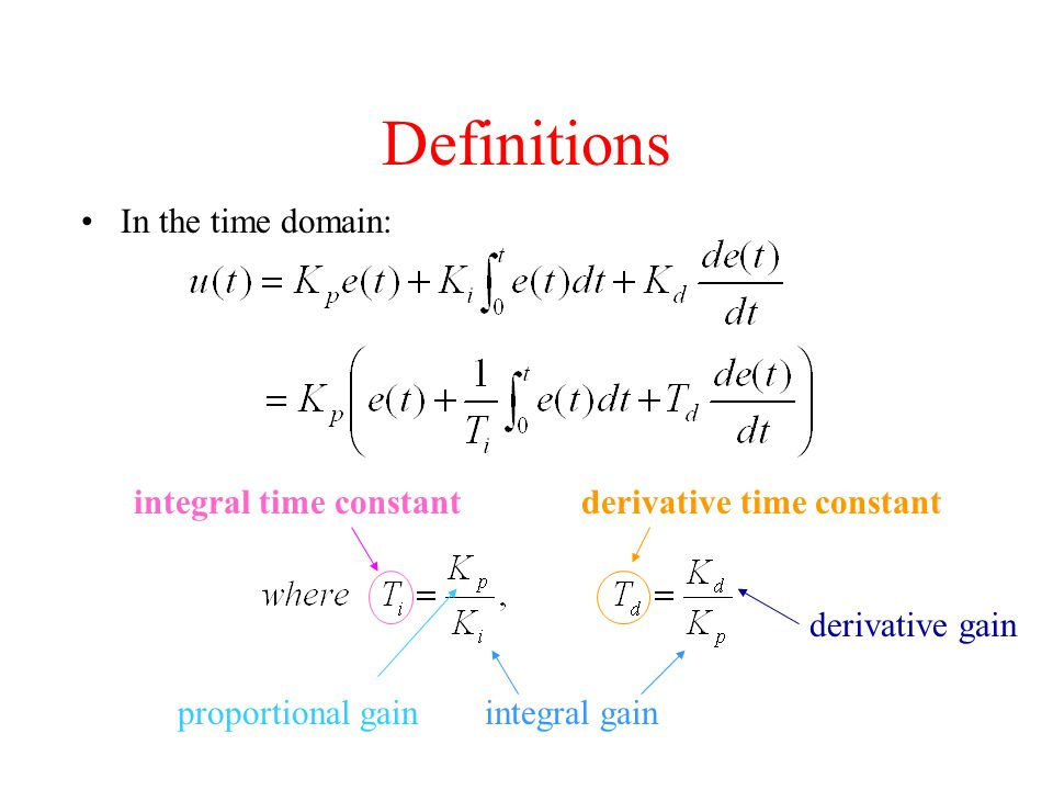 Definitions In the time domain: integral time constant