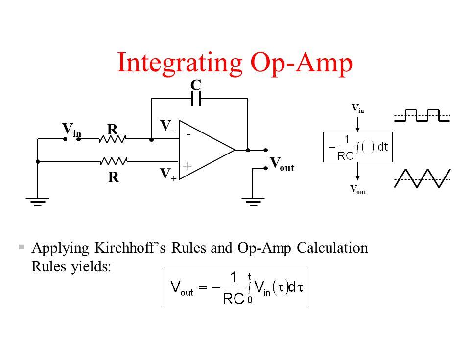 Integrating Op-Amp C V- Vin R - Vout + V+