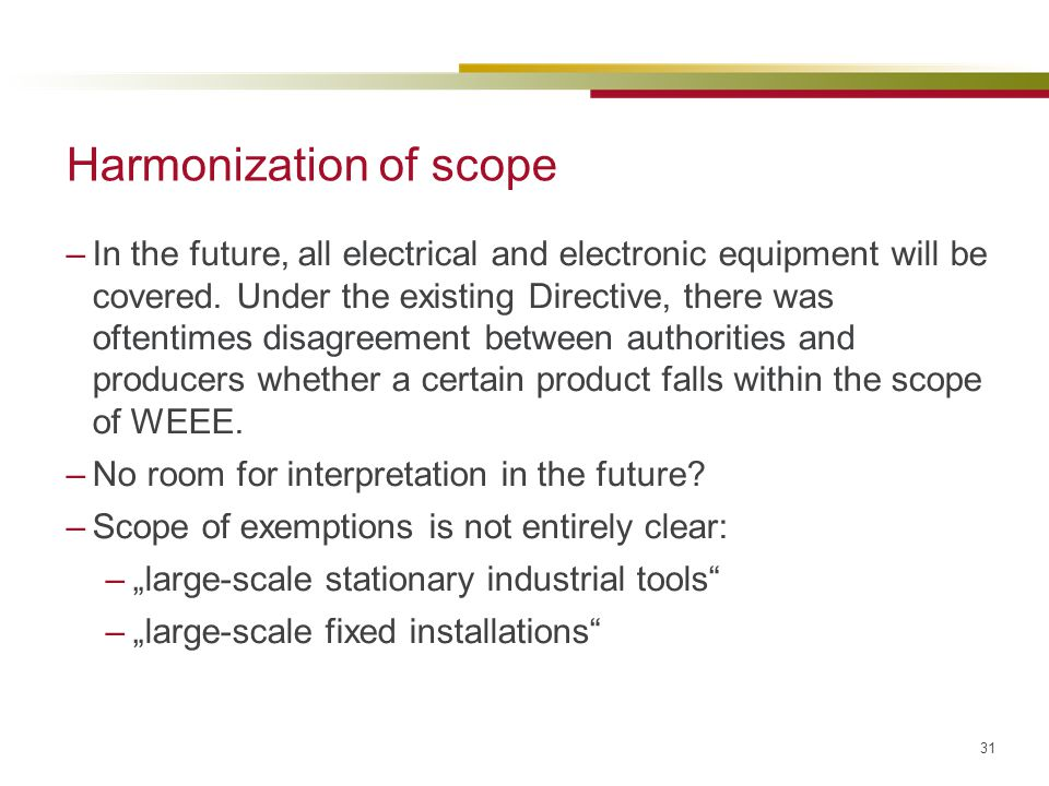 Harmonization of scope