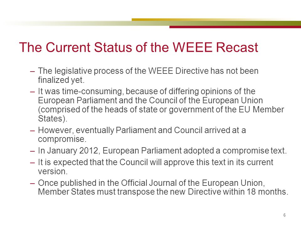 The Current Status of the WEEE Recast