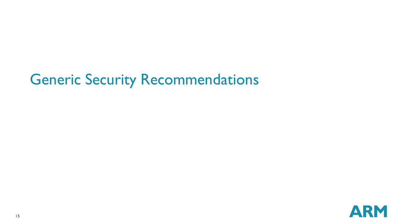 Generic Security Recommendations