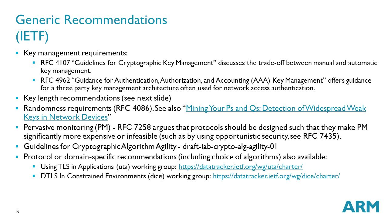 Generic Recommendations (IETF)