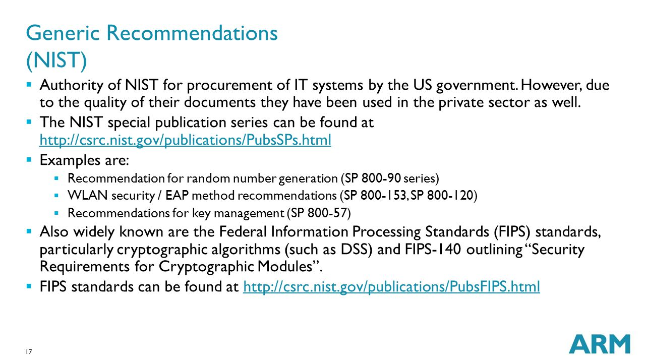 Generic Recommendations (NIST)