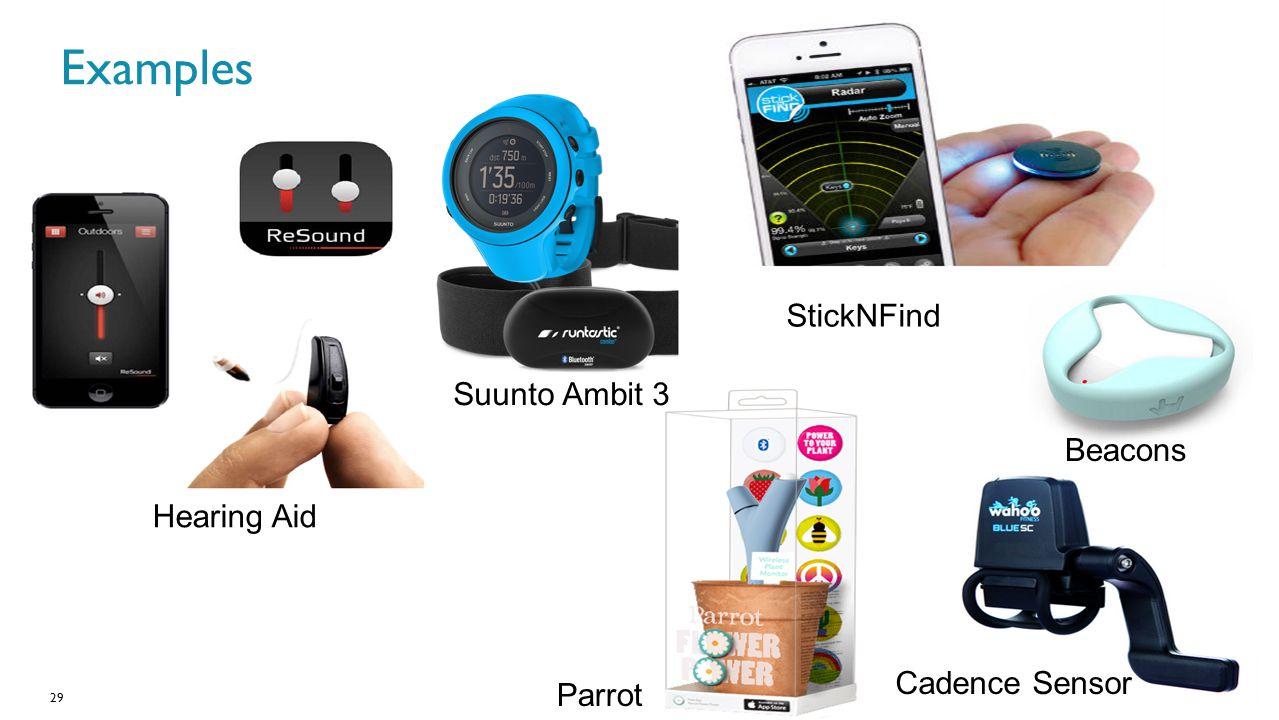 Examples StickNFind Suunto Ambit 3 Beacons Hearing Aid Cadence Sensor