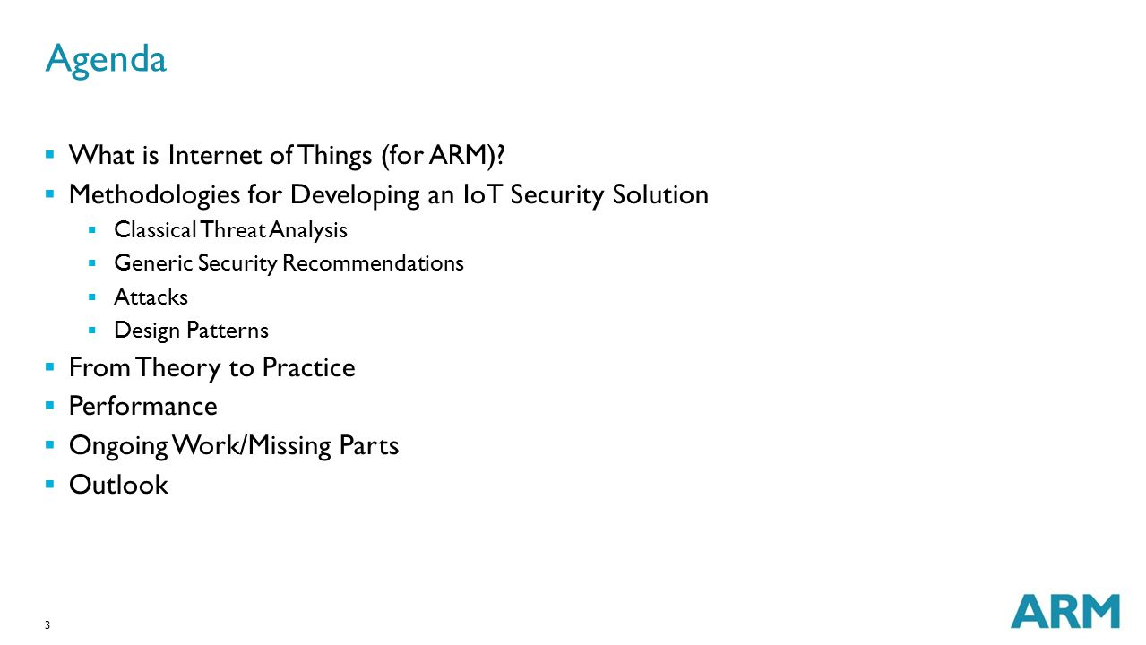 Agenda What is Internet of Things (for ARM)