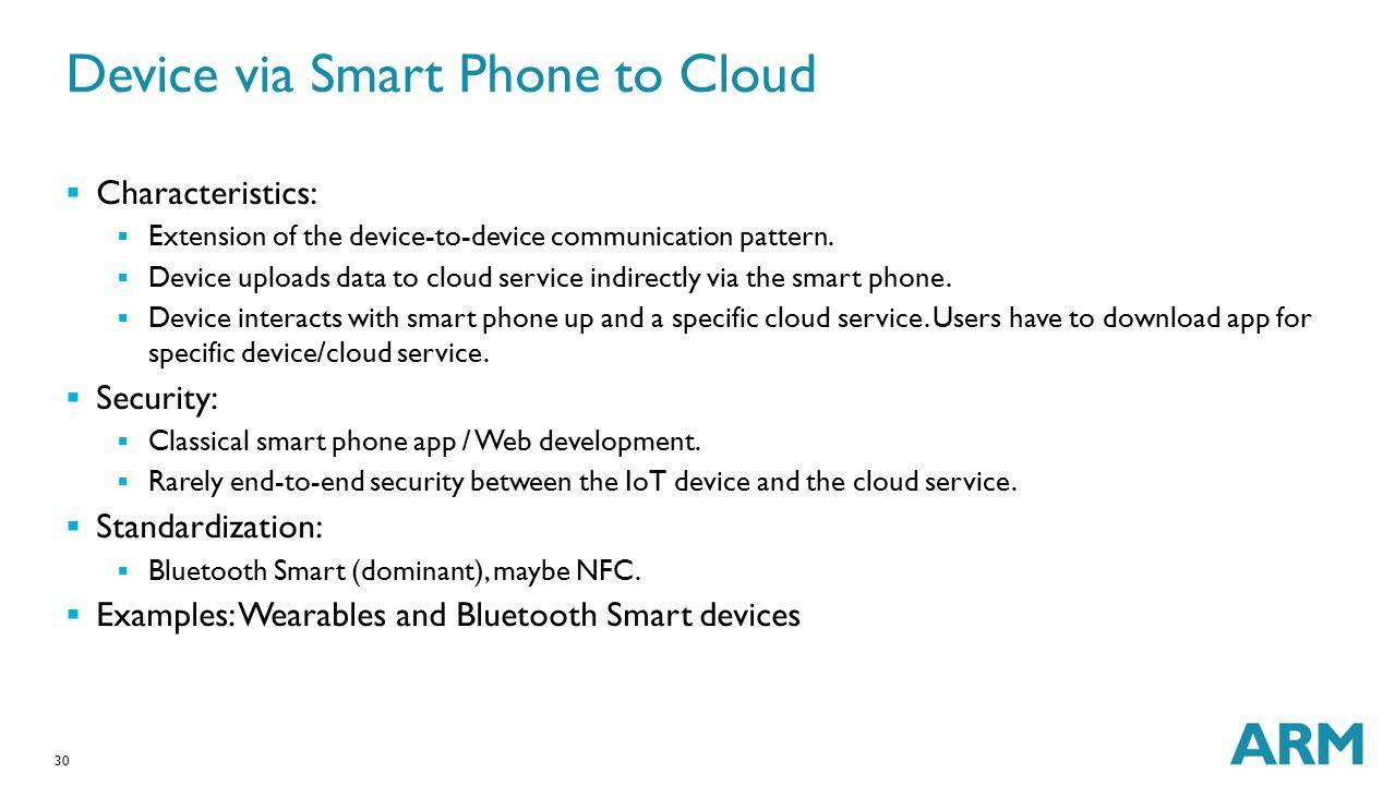 Device via Smart Phone to Cloud