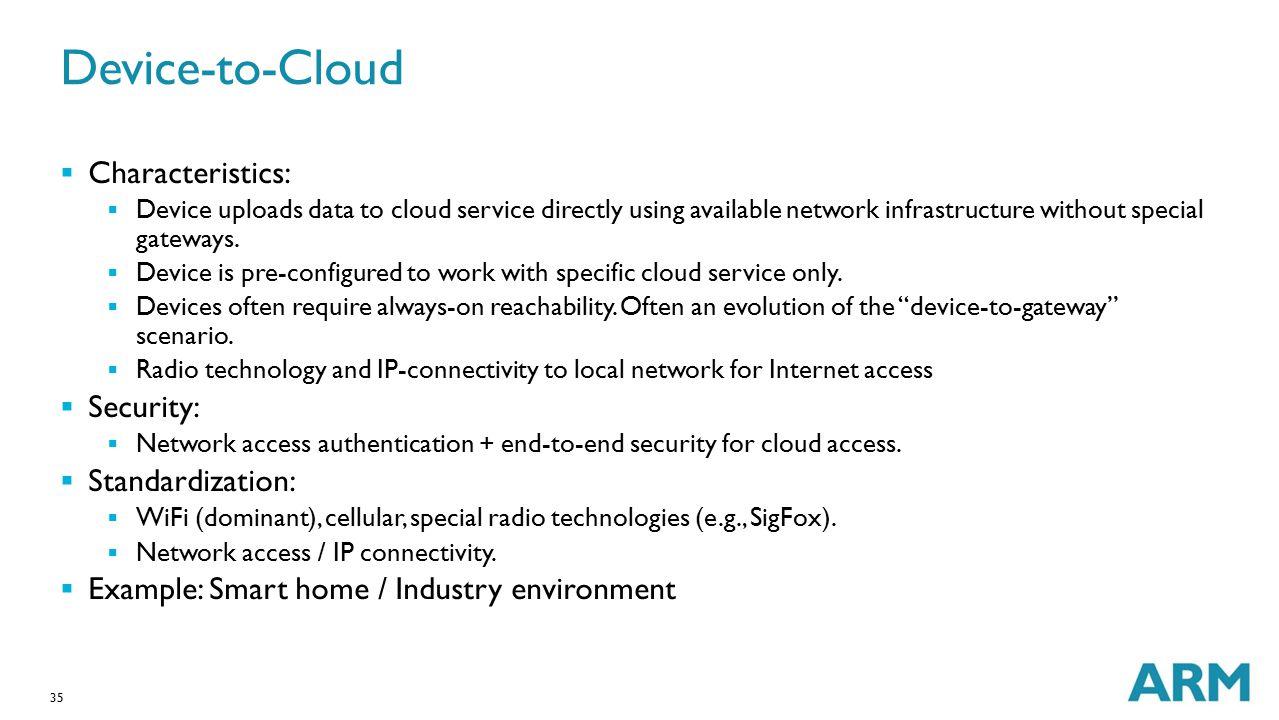Device-to-Cloud Characteristics: Security: Standardization: