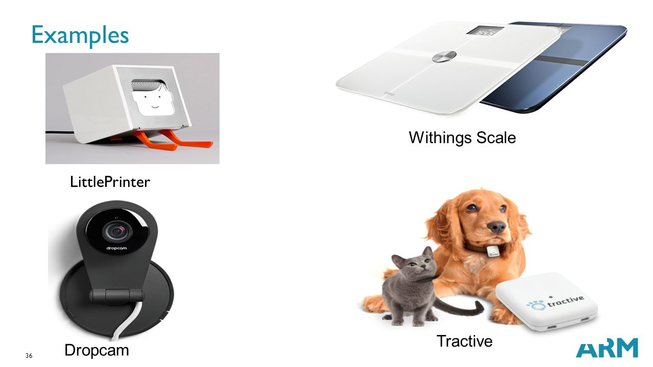 Examples Withings Scale LittlePrinter Tractive Dropcam