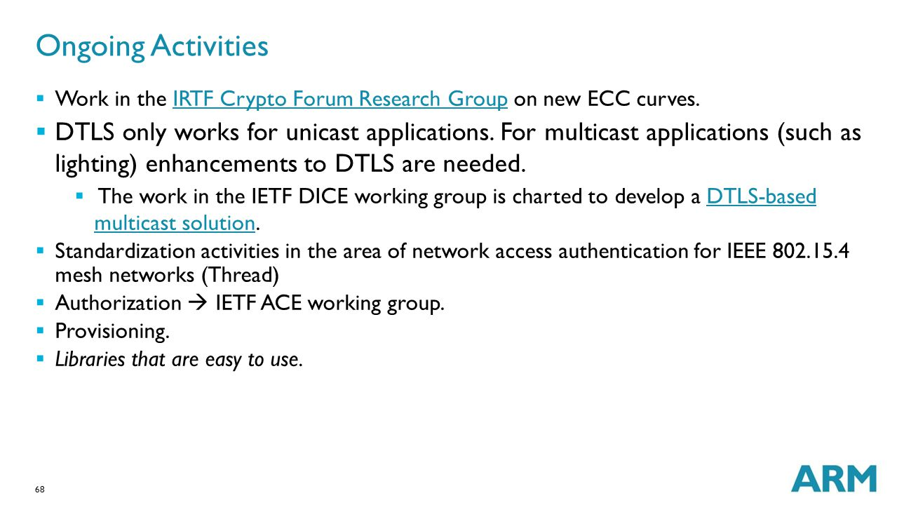 Ongoing Activities Work in the IRTF Crypto Forum Research Group on new ECC curves.