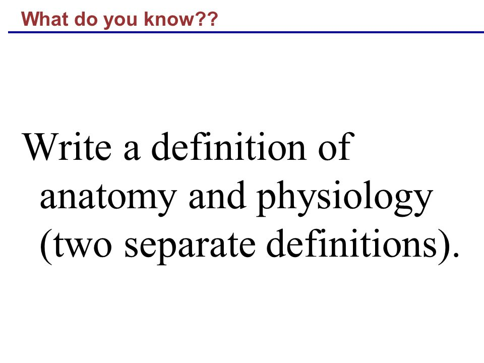 What do you know Write a definition of anatomy and physiology (two separate definitions).