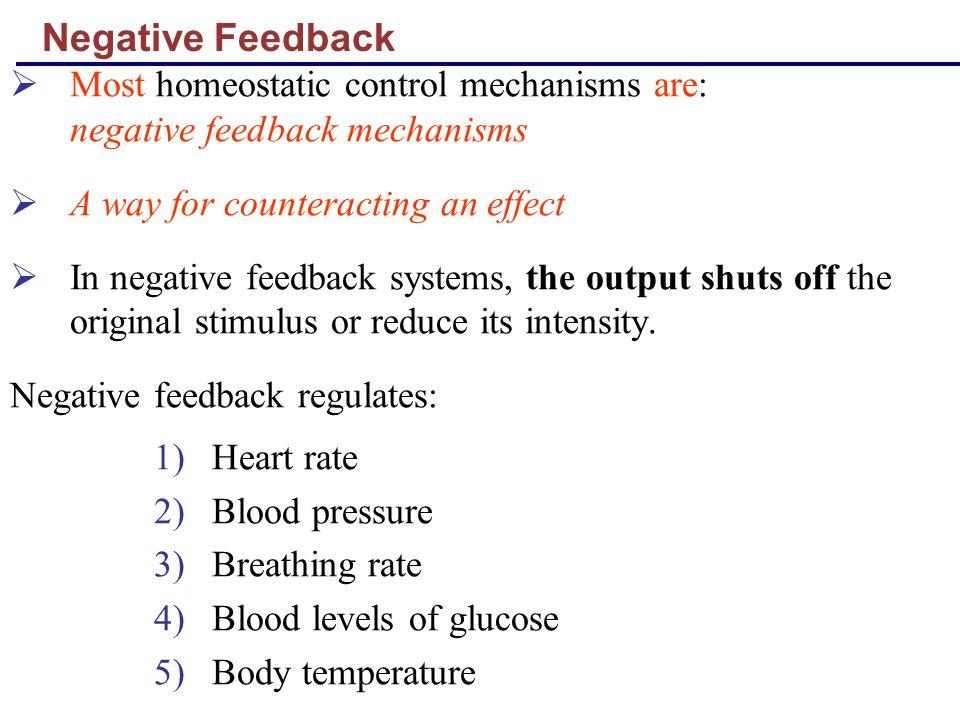 Negative Feedback Most homeostatic control mechanisms are: negative feedback mechanisms.