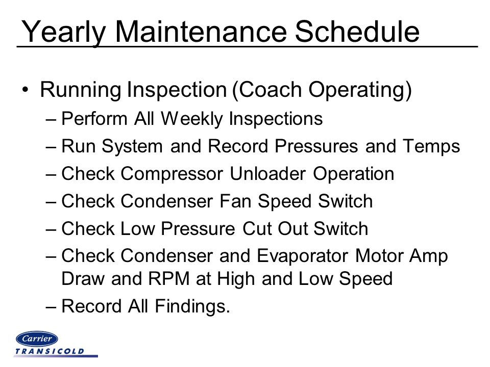 Yearly Maintenance Schedule