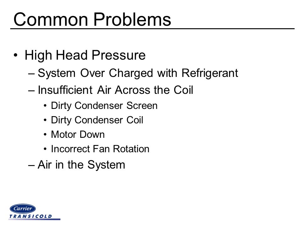 Common Problems High Head Pressure