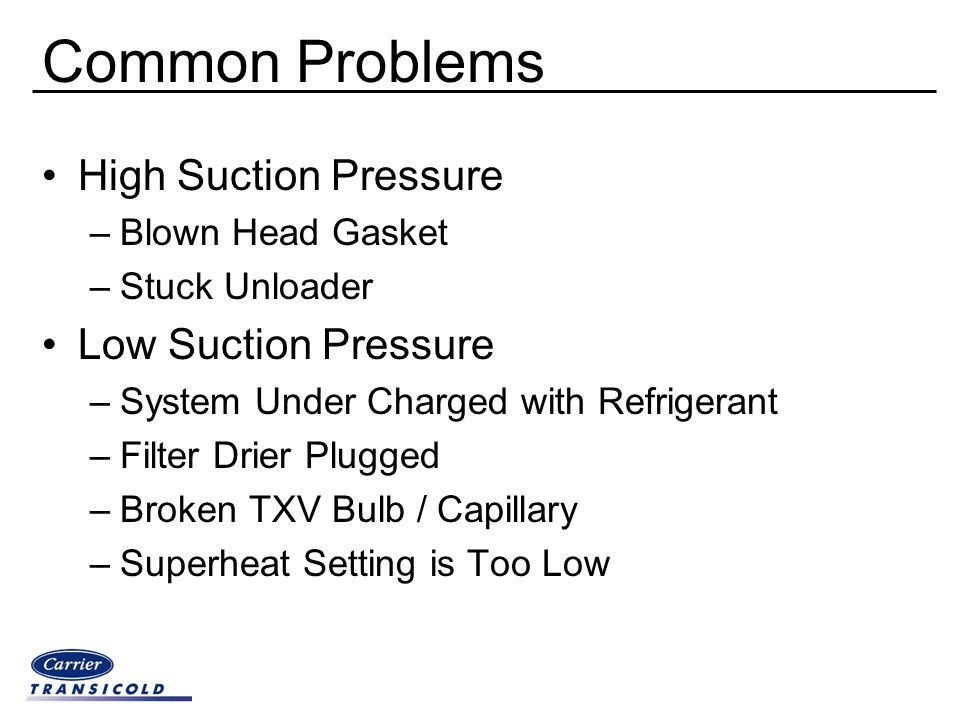 Common Problems High Suction Pressure Low Suction Pressure