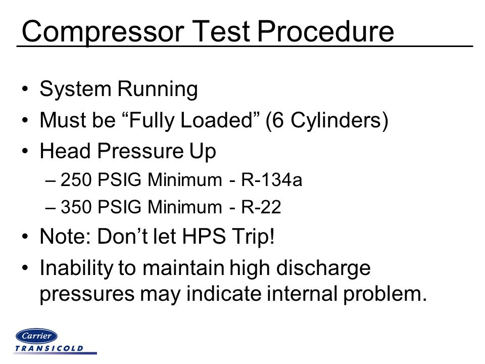 Compressor Test Procedure