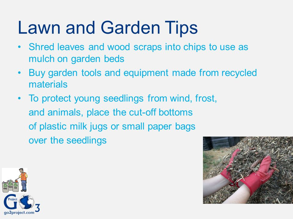 Lawn and Garden Tips Shred leaves and wood scraps into chips to use as mulch on garden beds.