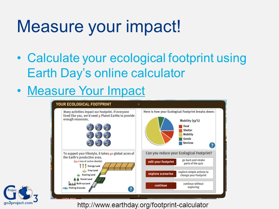 Measure your impact! Calculate your ecological footprint using Earth Day's online calculator. Measure Your Impact.