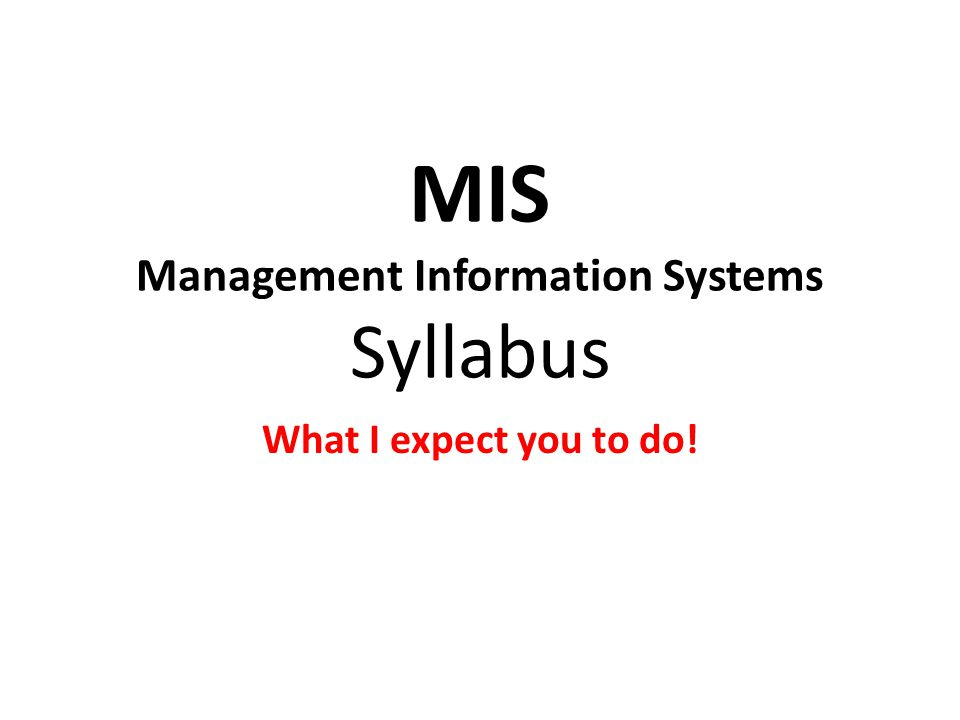 MIS Management Information Systems Syllabus