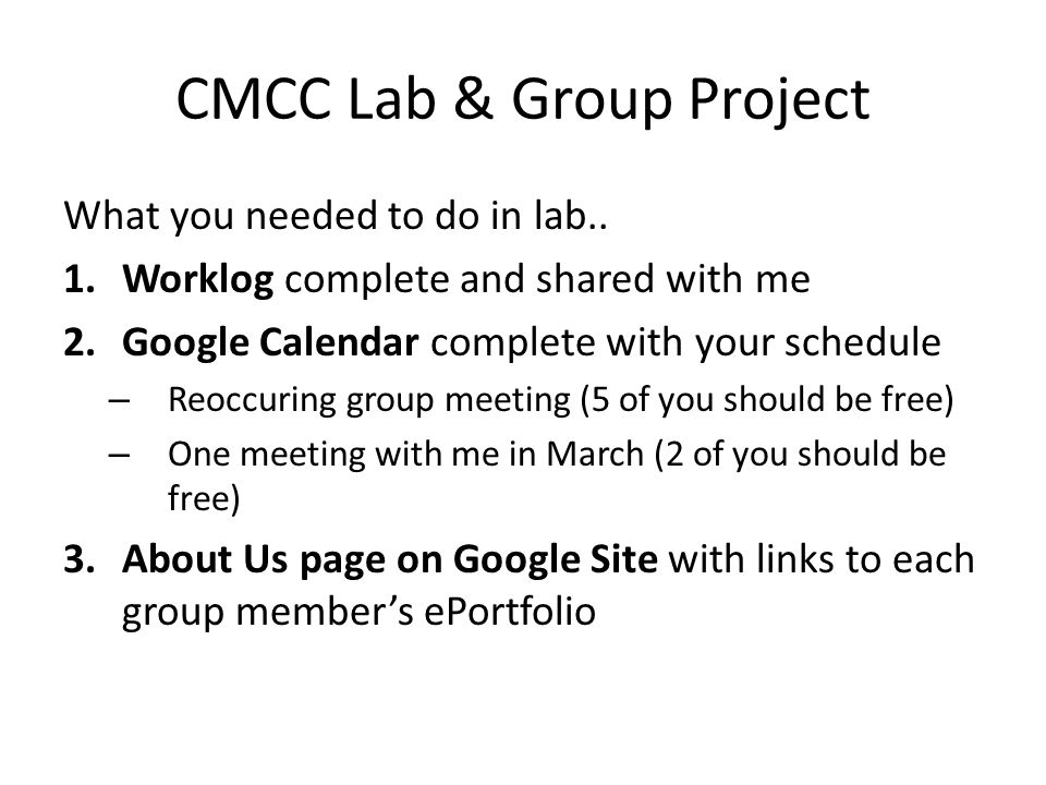 CMCC Lab & Group Project