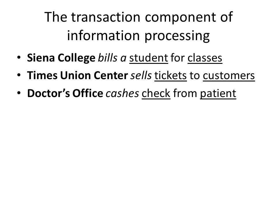 The transaction component of information processing