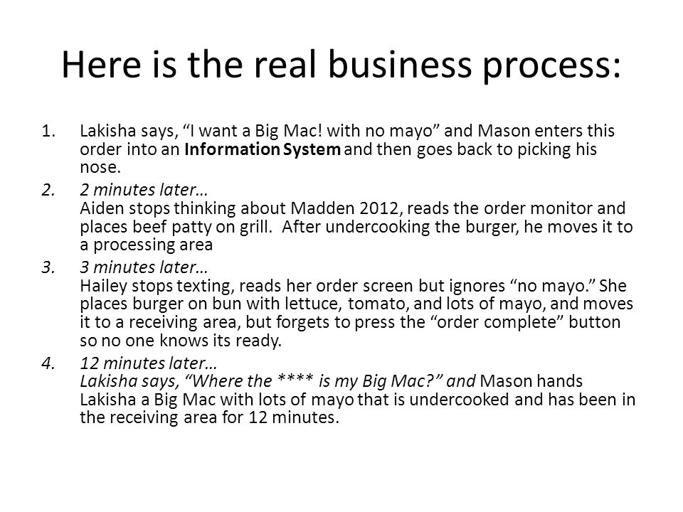 Here is the real business process: