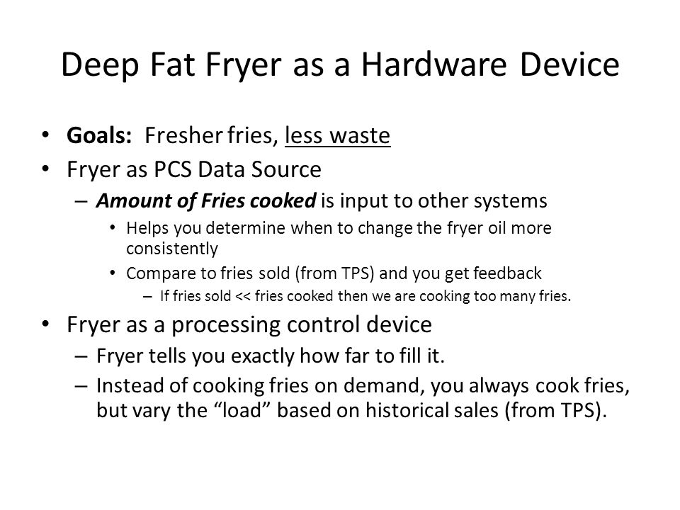 Deep Fat Fryer as a Hardware Device
