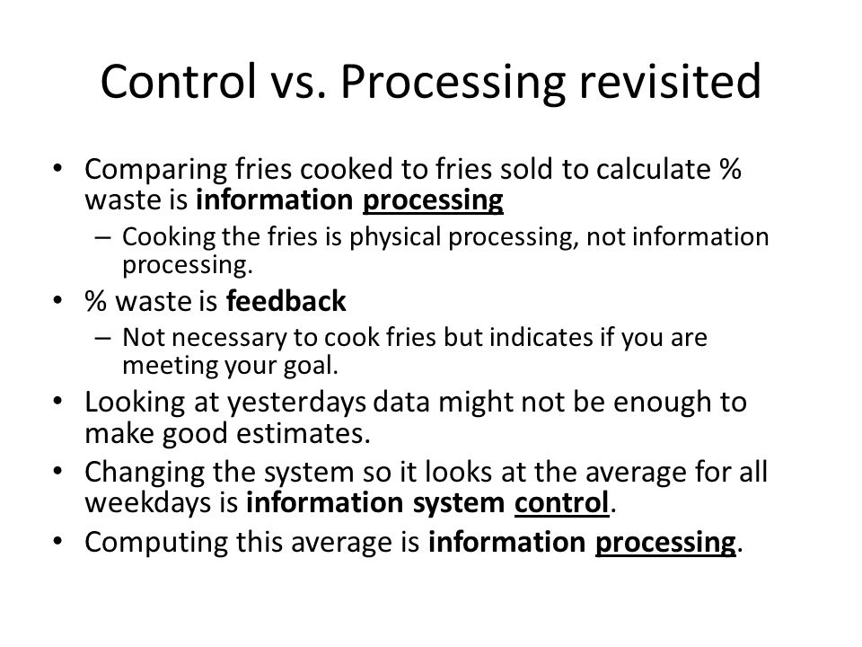 Control vs. Processing revisited