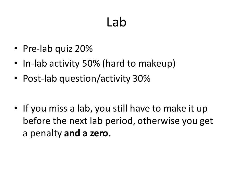 Lab Pre-lab quiz 20% In-lab activity 50% (hard to makeup)