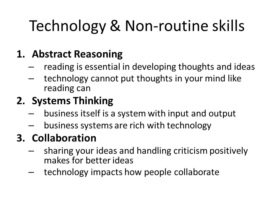 Technology & Non-routine skills