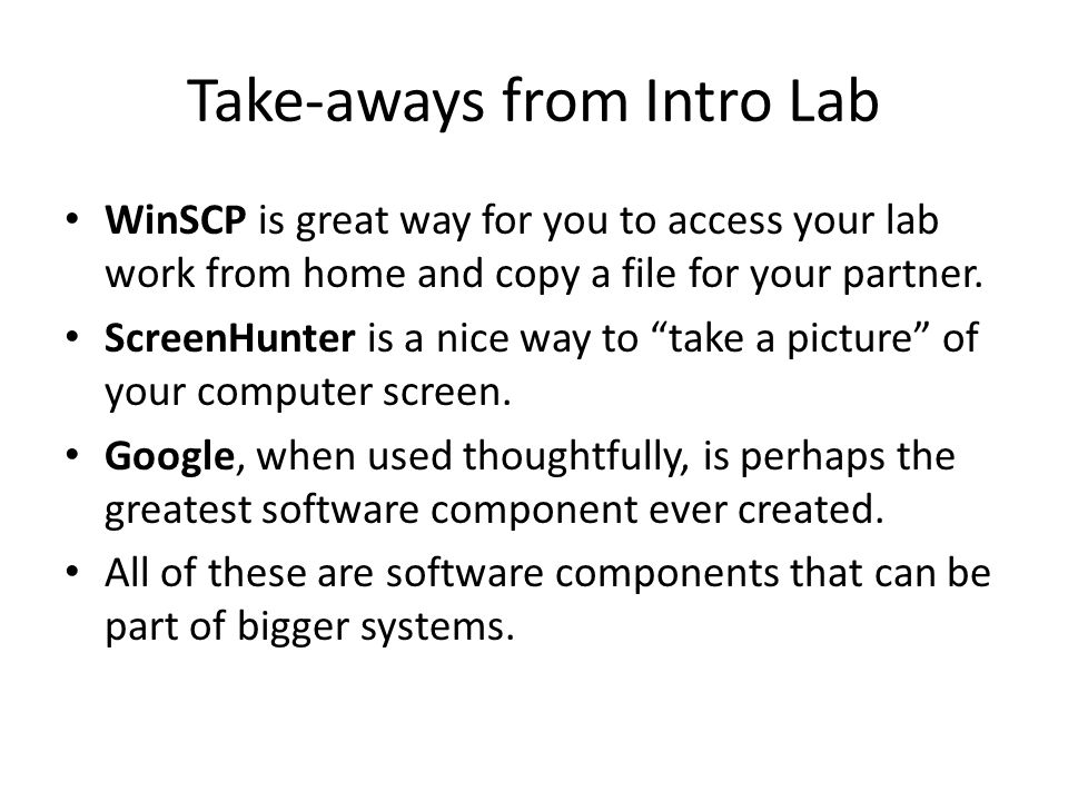Take-aways from Intro Lab
