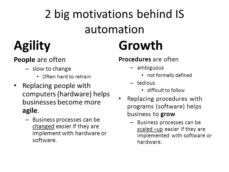 2 big motivations behind IS automation