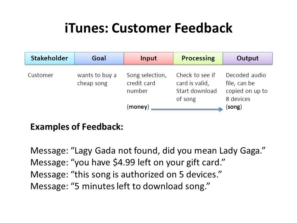 iTunes: Customer Feedback
