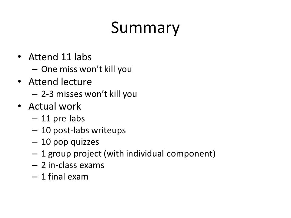 Summary Attend 11 labs Attend lecture Actual work