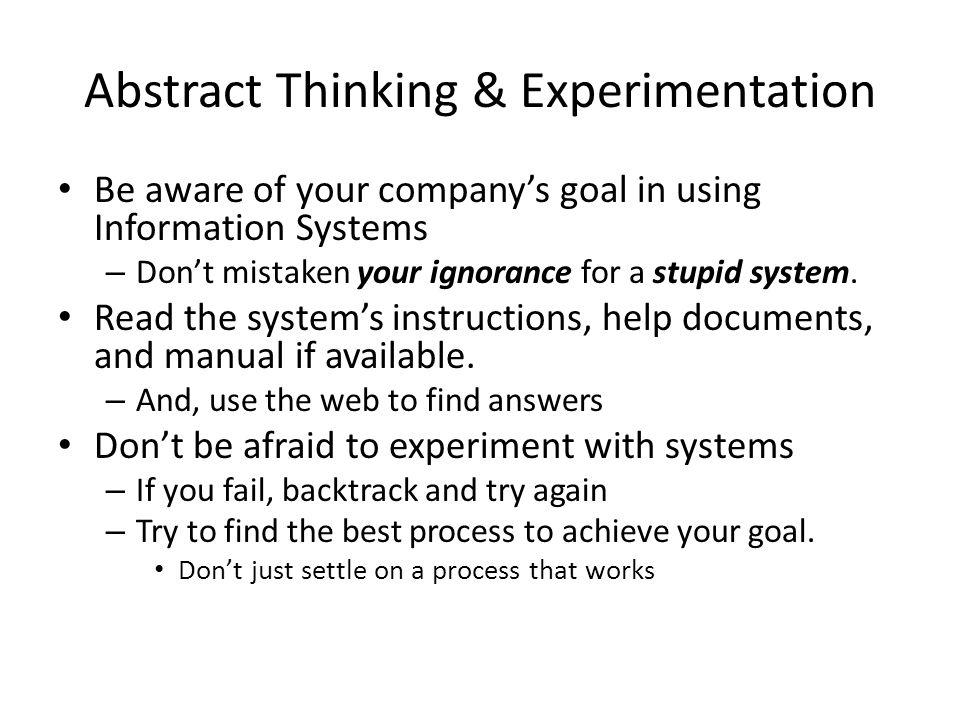 Abstract Thinking & Experimentation