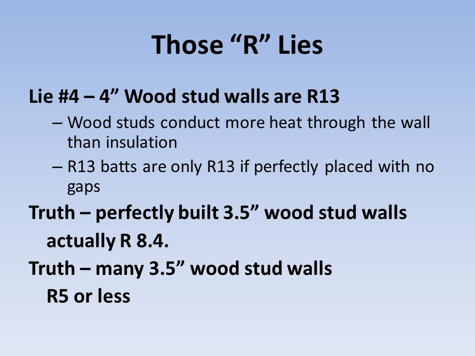 Those R Lies Lie #4 – 4 Wood stud walls are R13