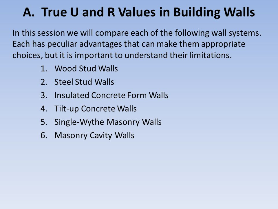 A. True U and R Values in Building Walls