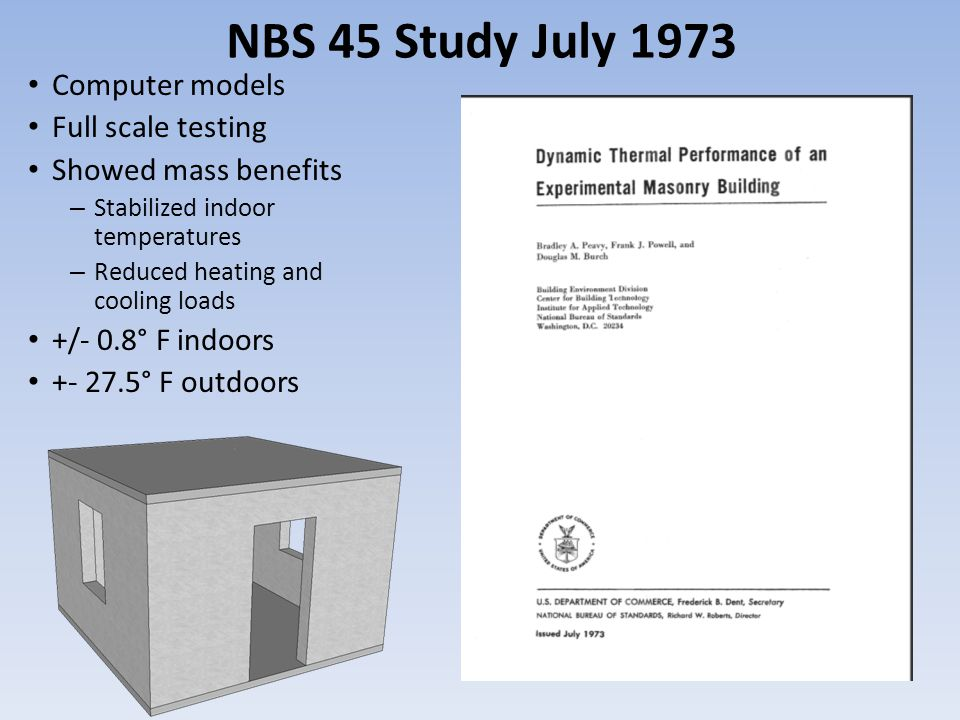 NBS 45 Study July 1973 Computer models Full scale testing