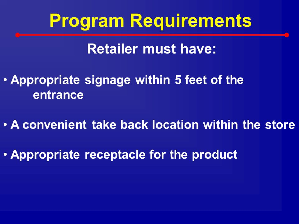 Program Requirements Retailer must have: