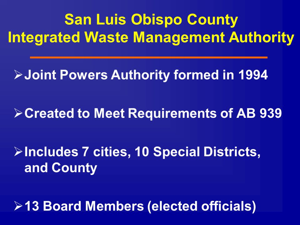 San Luis Obispo County Integrated Waste Management Authority