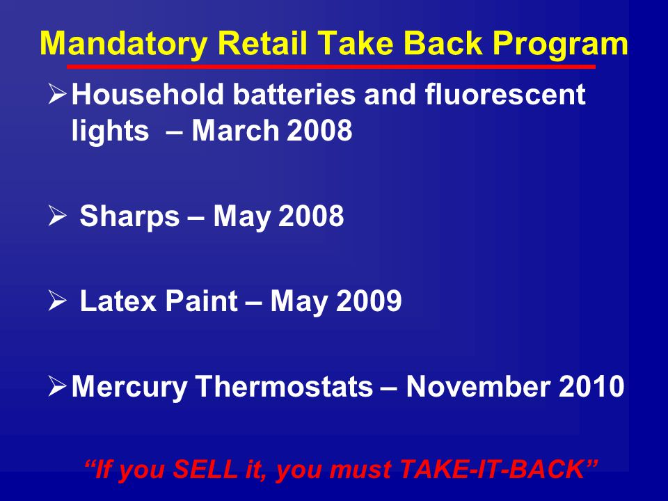 Mandatory Retail Take Back Program
