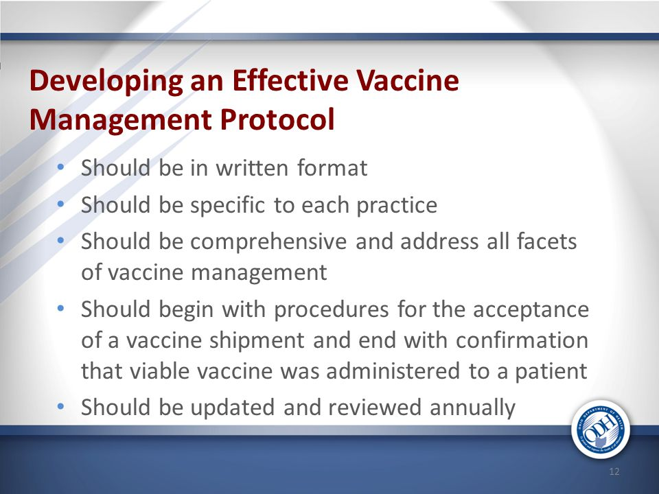 Developing an Effective Vaccine Management Protocol