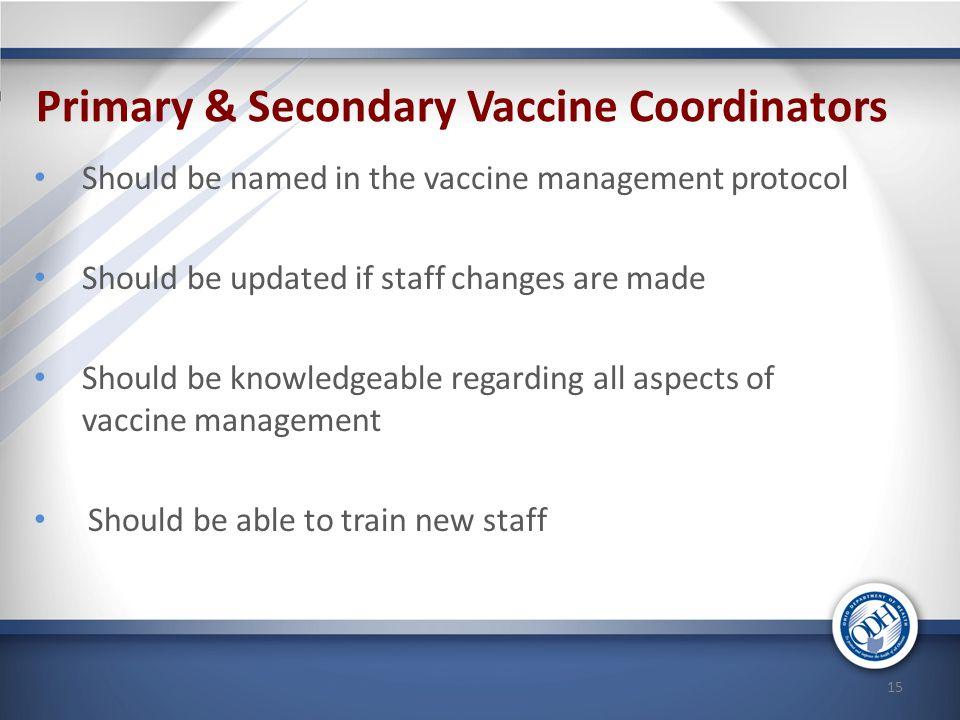 Primary & Secondary Vaccine Coordinators