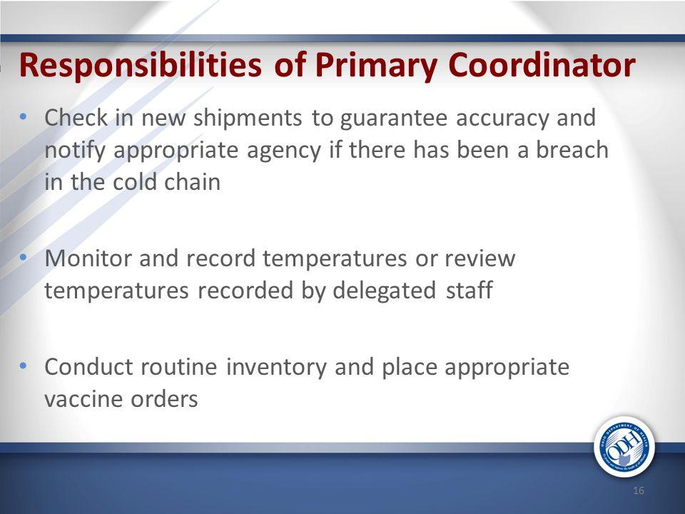 Responsibilities of Primary Coordinator