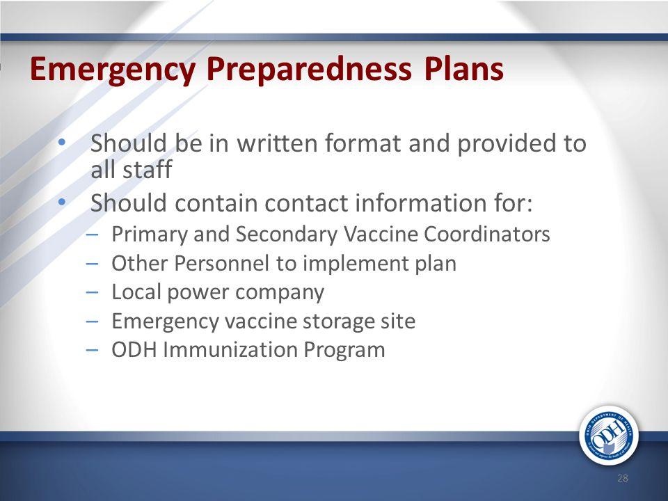 Emergency Preparedness Plans