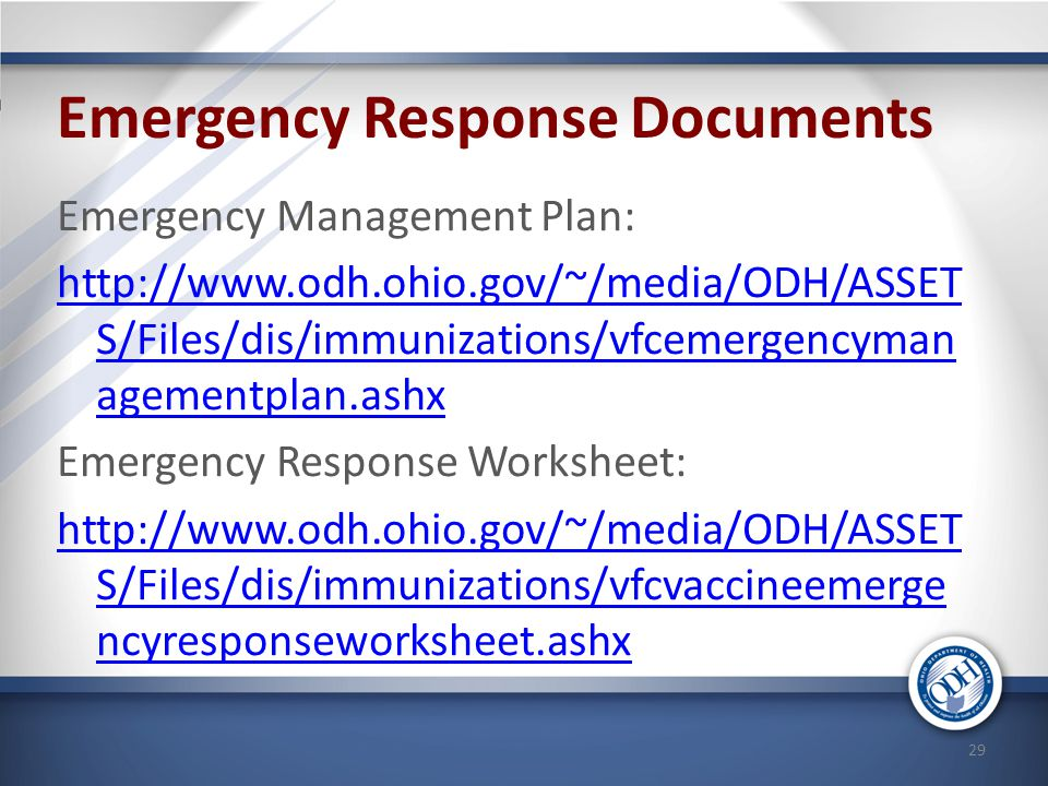 Emergency Response Documents