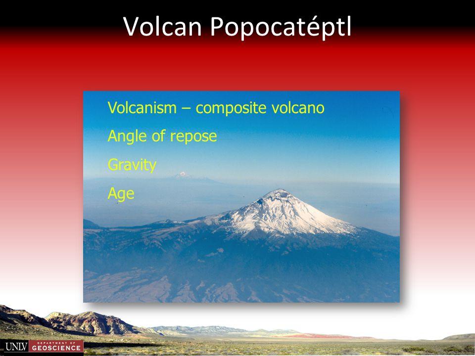 Volcan Popocatéptl Volcanism – composite volcano Angle of repose