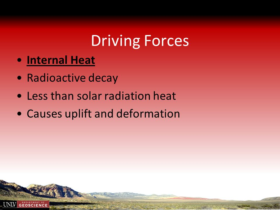 Driving Forces Internal Heat Radioactive decay