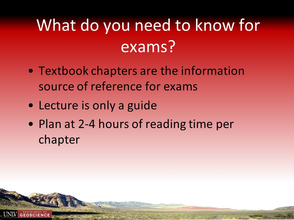 What do you need to know for exams
