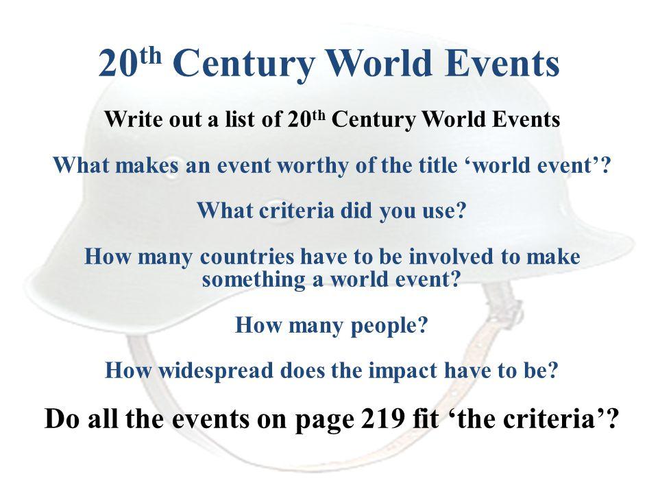 20th Century World Events