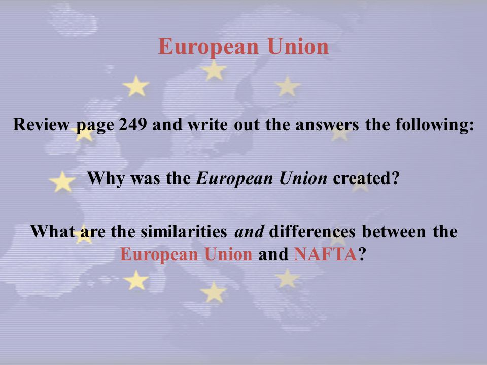 European Union Review page 249 and write out the answers the following: Why was the European Union created